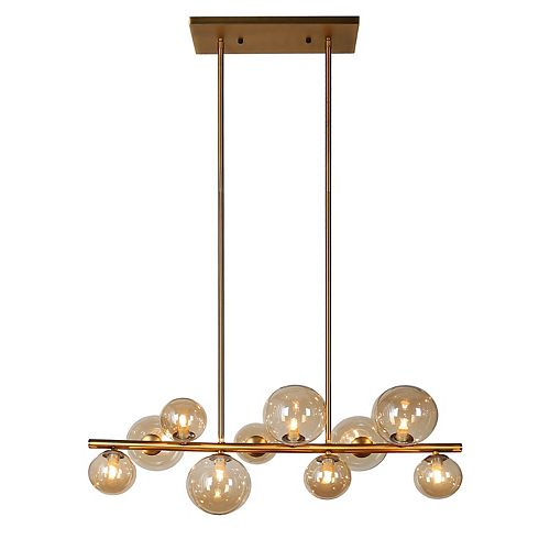 10 Light Horizontal Pendant, Vintage Bronze Finish, Champagne Glass