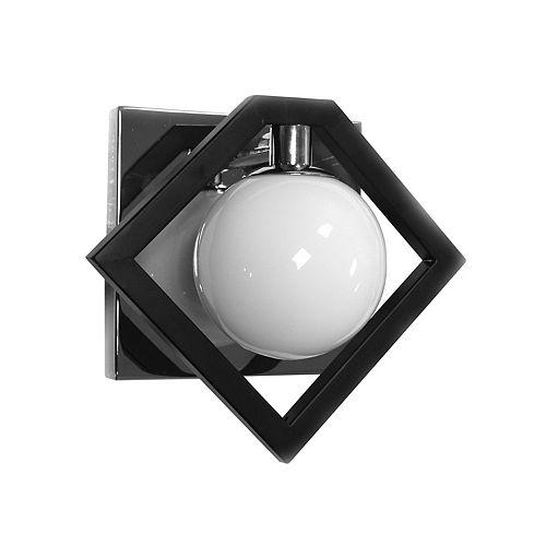Applique murale à 1 lumière, noir mat et chrome poli