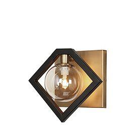 1 Light Wall Sconce, Matte Black & Vintage Bronze Finish, Champagne Glass