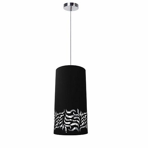 Luminaire suspendu à 1 ampoule Glora JTone, abat-jour noir et argent, chrome poli