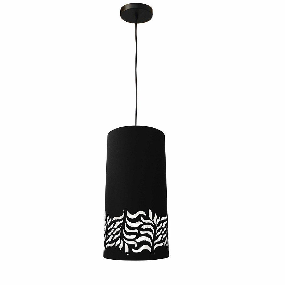 Dainolite Luminaire suspendu à 1 ampoule Glora JTone, abat-jour noir, noir