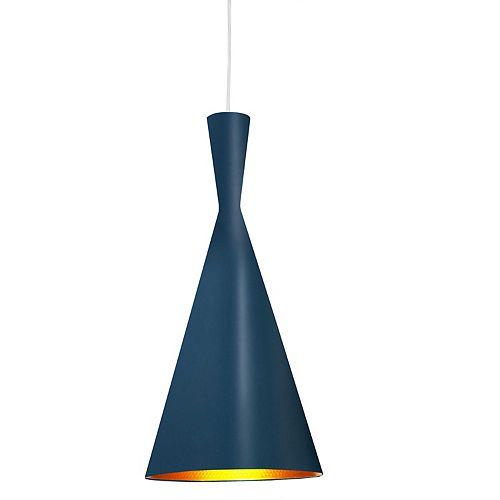 Luminaire suspendu à 1 ampoule Incandescent et fini bleu avec intérieur en galets dorés