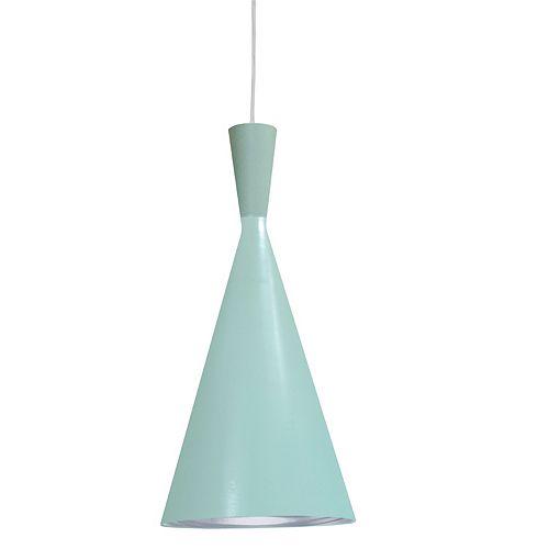 Pendentif 1 ampoule à incandescence à la finition menthe avec intérieur en galets argentés