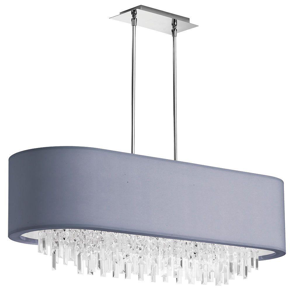 Dainolite Lustre cristal ovale à 8 ampoules, chrome poli, abat-jour en lycra argenté
