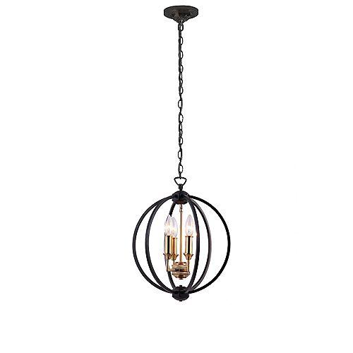 Lustre à 3 lumières, accents de noir mat et de bronze vintage