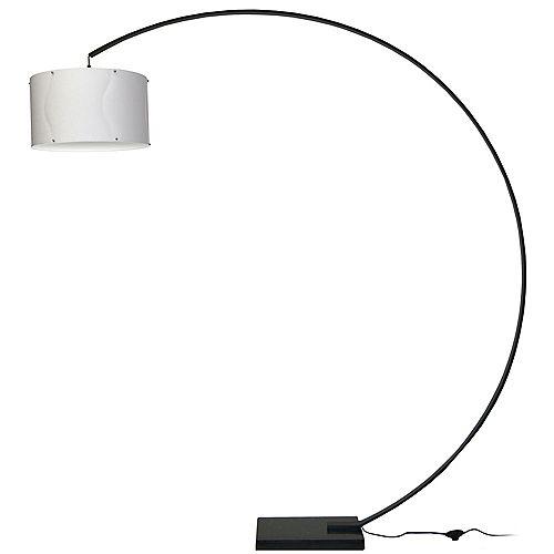 Lampe à arc, aluminium noir, abat-jour blanc, base en marbre noir