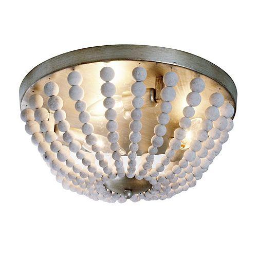 Luminaire encastré à 3 lampes, bois délavé blanc à finitions dorées au palladium