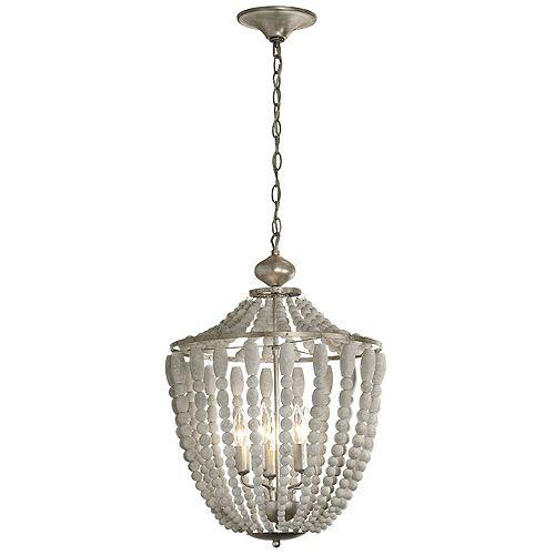 Lustre à 5 ampoules, bois blanchi, finitions dorées au palladium