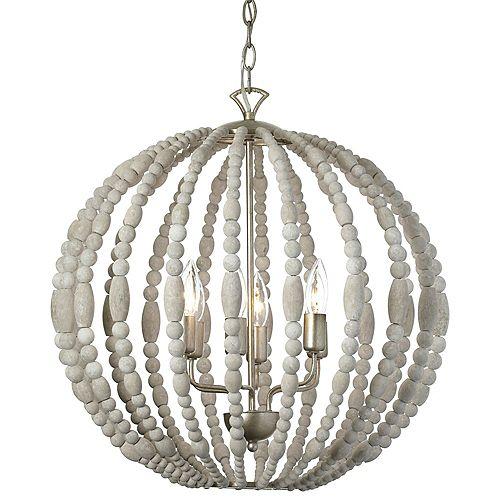 Lustre à 6 ampoules, bois blanchi garniture palladium doré