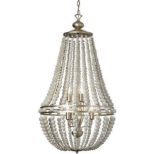 Lustre à 6 ampoules, bois blanchi, garniture palladium doré