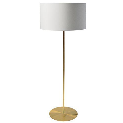Lampadaire à 1 lampe à tambour et laiton blanc vieilli