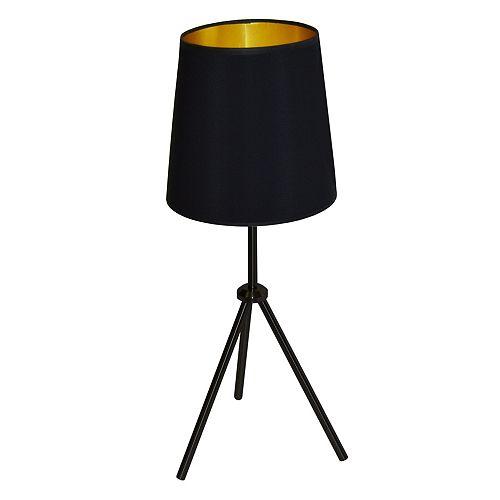 1 Light Black 3 Leg Drum Table Fixture w/BK-GLD Shade