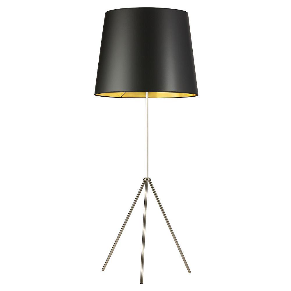 Dainolite Lampadaire surdimensionné à tambour à 1 lumière avec abat-jour noir sur doré, fini chrome satiné