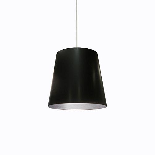 Pendentif de batterie conique à 1 lumière  avec abat-jour noir sur argent