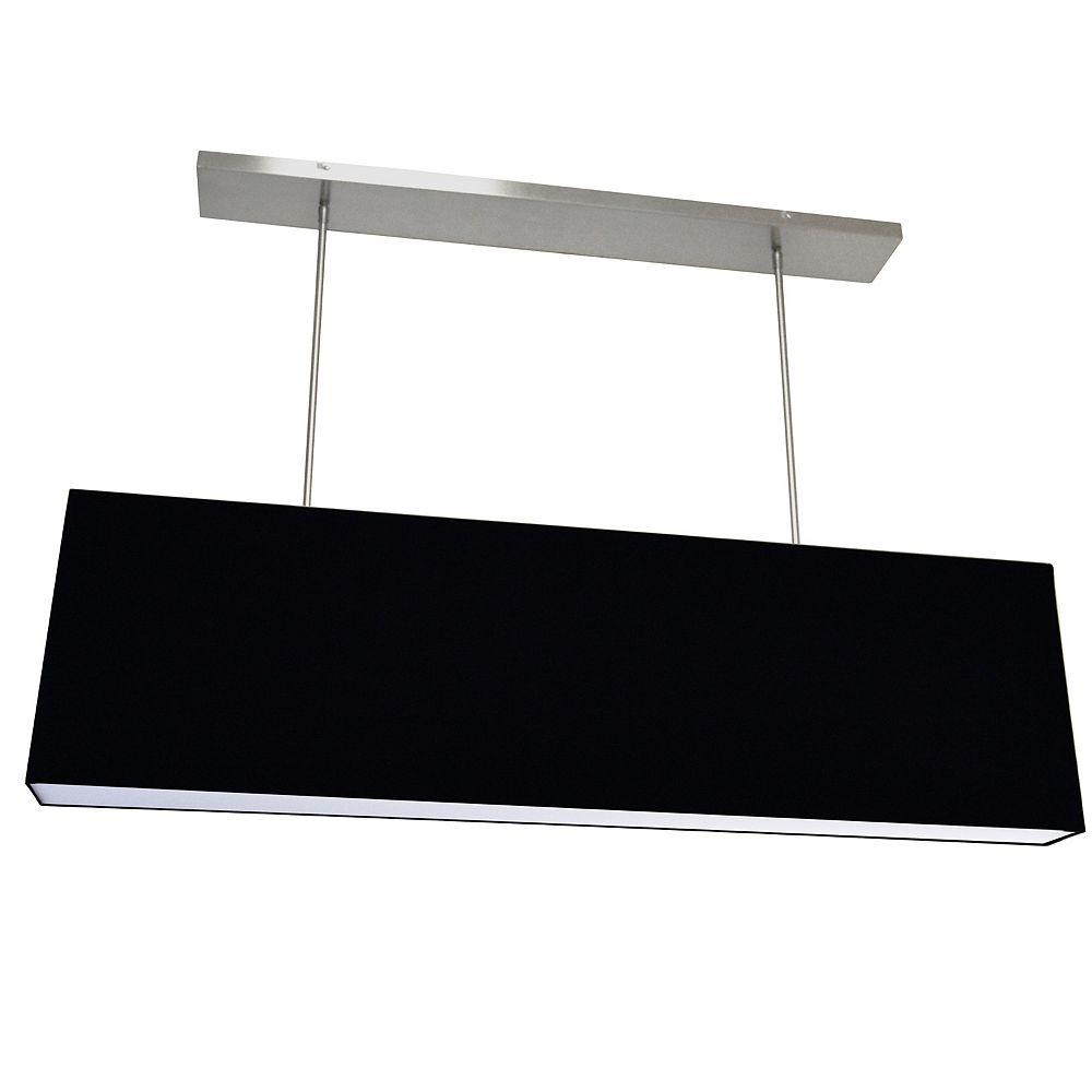 Dainolite Luminaire suspendu rectangulaire surdimensionné à 4 ampoules, petit noir avec diffuseur en tissu