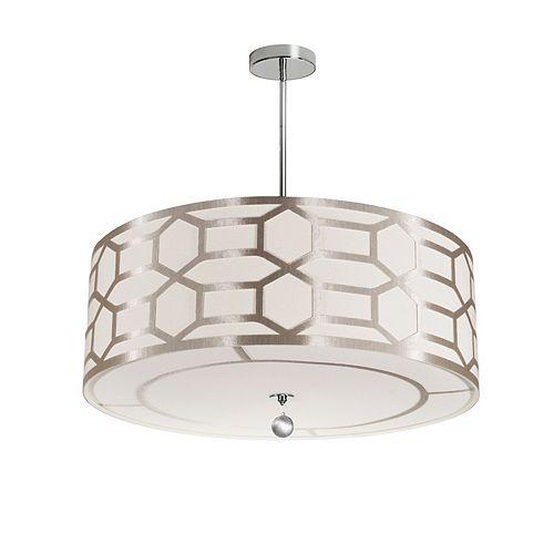 Dainolite 4 Light Pendant Drum Shade with Geometric Laminated Trim, Winter Gold ( Pebble & Cream )