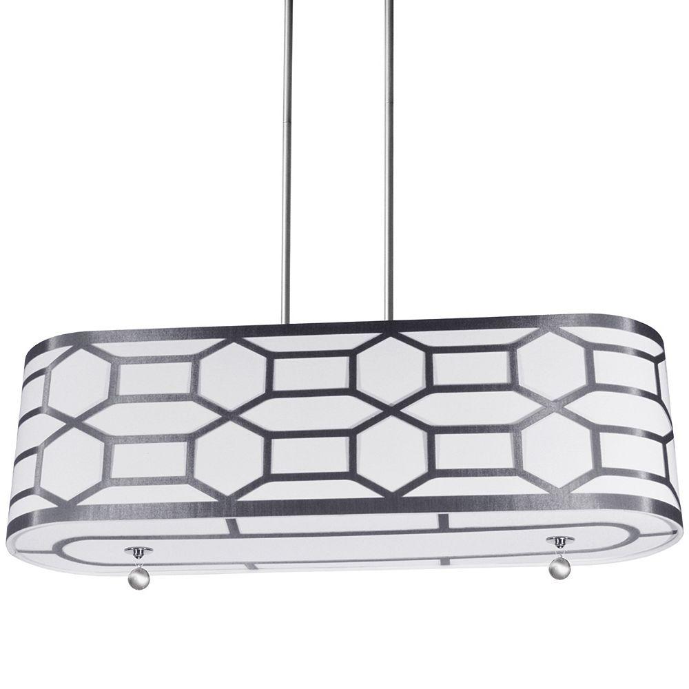 Dainolite Luminaire suspendu horizontal à 4 ampoules géométriques avec bordure laminée argentée