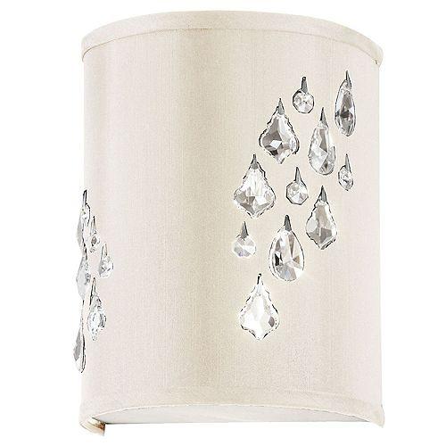 Applique murale à 2 lumières avec touches de cristal, à droite, chrome poli et tissu ivoire
