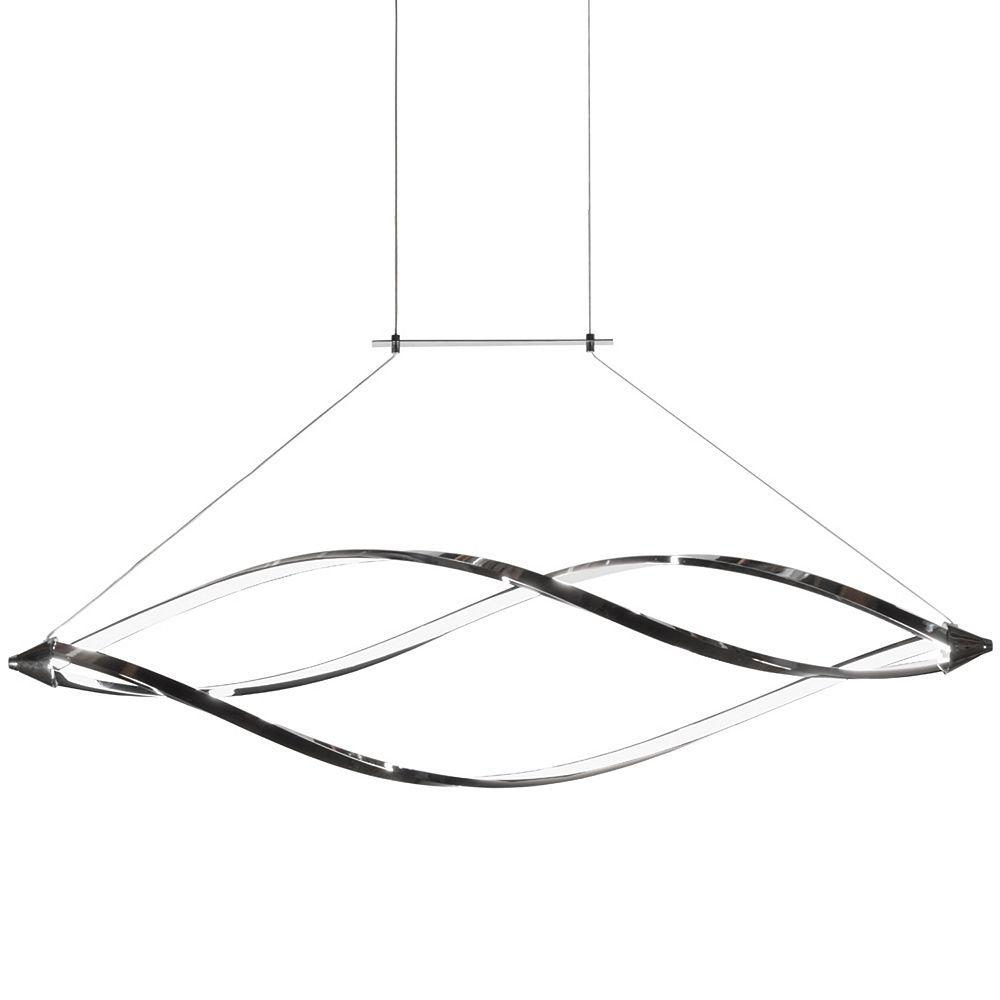 Dainolite Luminaire suspendu horizontal à DEL à 37 watts avec bras arrondis, fini chrome poli