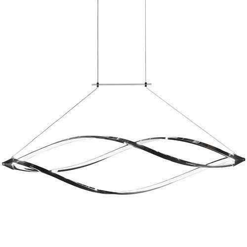 Luminaire suspendu horizontal à DEL à 37 watts avec bras arrondis, fini chrome poli