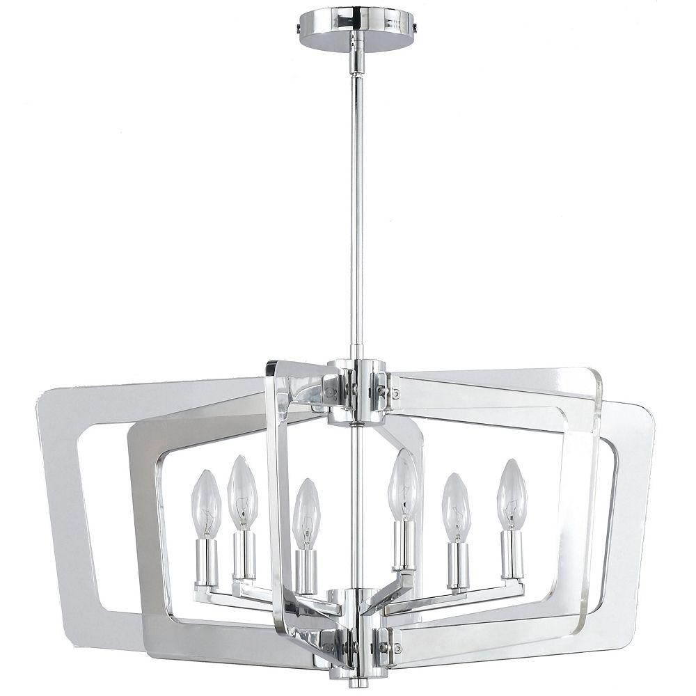 Dainolite Lustre à 6 ampoules au fini chrome poli avec bras en acrylique transparent