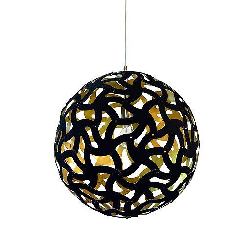 Pendentif 1 lumière Kirigami noir mat, noir sur abat-jour doré