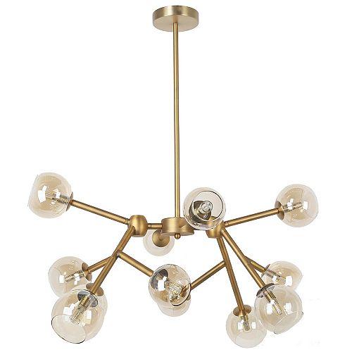 Lustre à 12 ampoules halogènes, fini bronze antique avec verre de champagne
