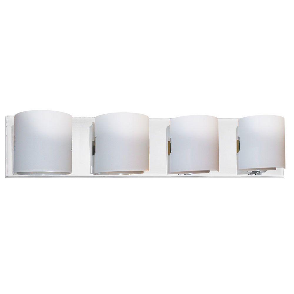 Dainolite 4 Light Vanity Fixture, Polished Chrome, White Frosted Glass