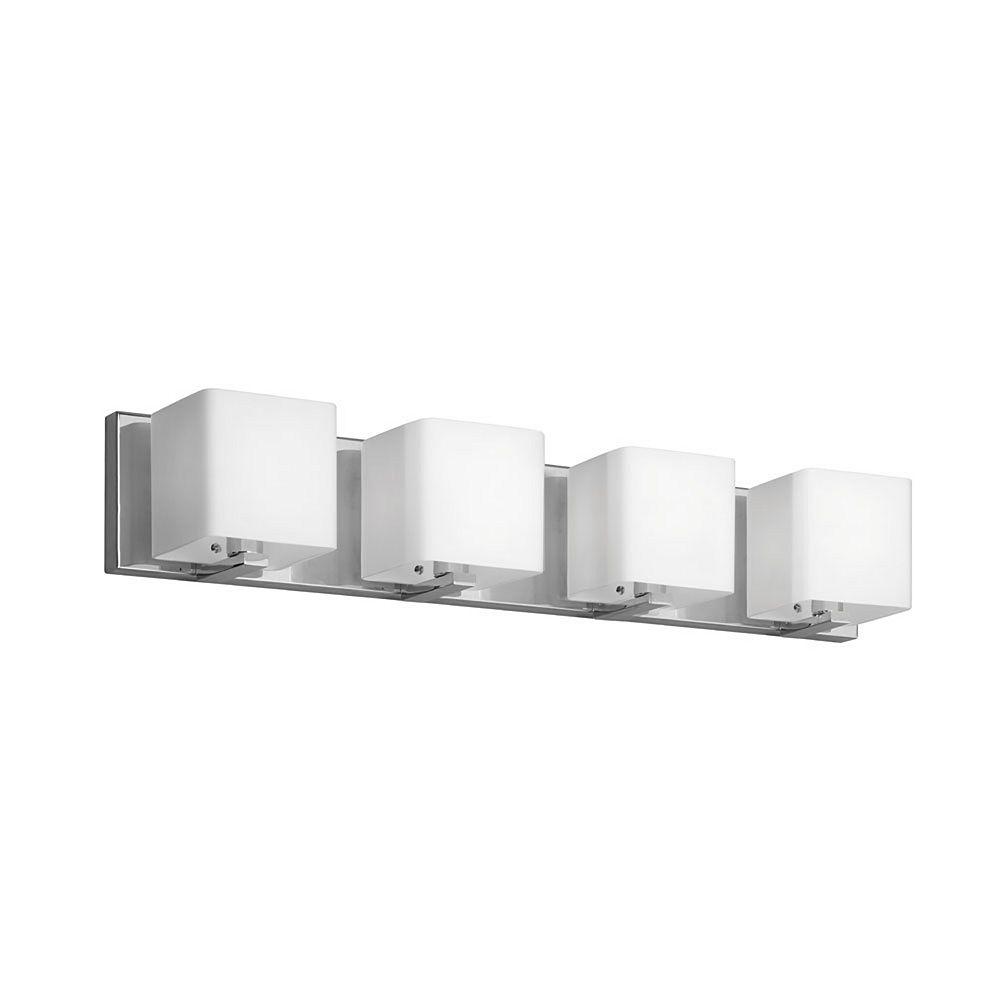 Dainolite Vanité 4 lumières, chrome poli, abat-jour en verre blanc givré
