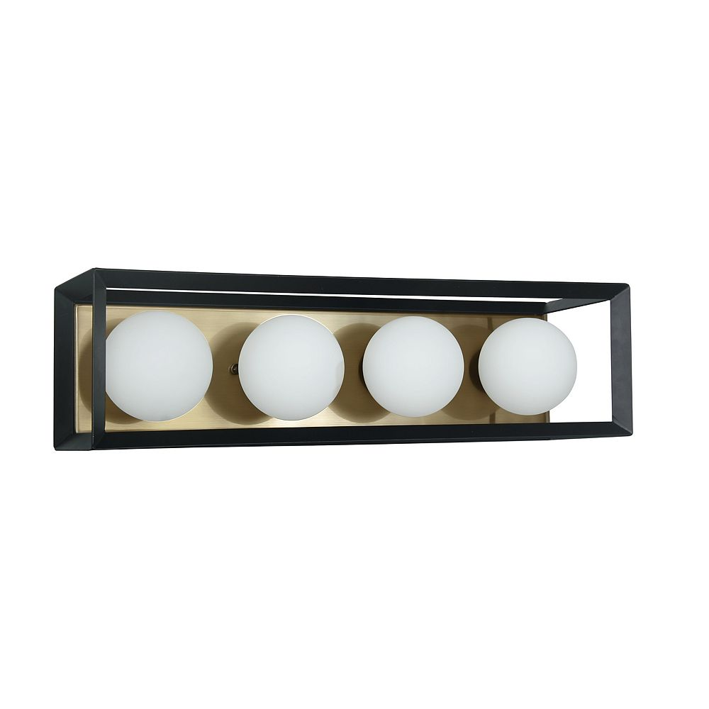 Dainolite 4 Light Halogen Vanity Black And Aged Brass Finish The Home Depot Canada