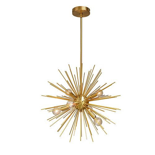 Luminaire suspendu à 6 ampoules ou fini bronze doré