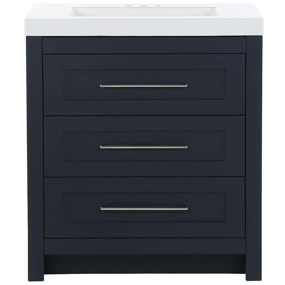 Moen Genta 30.5-inch W x 18.87-inch D Vanity in Deep Blue with Cultured Marble Vanity Top in White