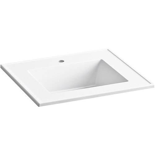 Ceramic/Impressions 25 inch Rectangular Vanity-Top Bathroom Sink with Single Faucet Hole in White