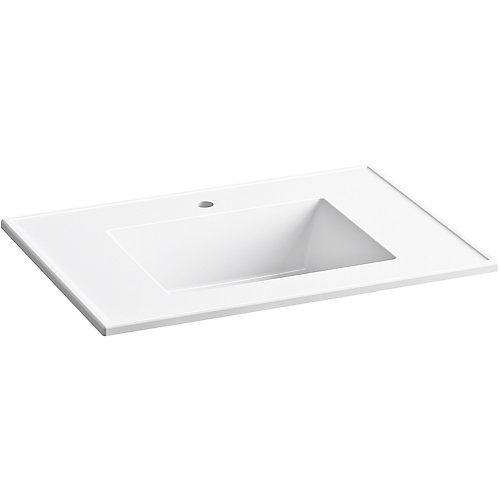 Ceramic/Impressions 31 inch Rectangular Vanity-Top Bathroom Sink with Single Faucet Hole in White