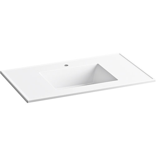 Ceramic/Impressions 37 inch Rectangular Vanity-Top Bathroom Sink with Single Faucet Hole in White
