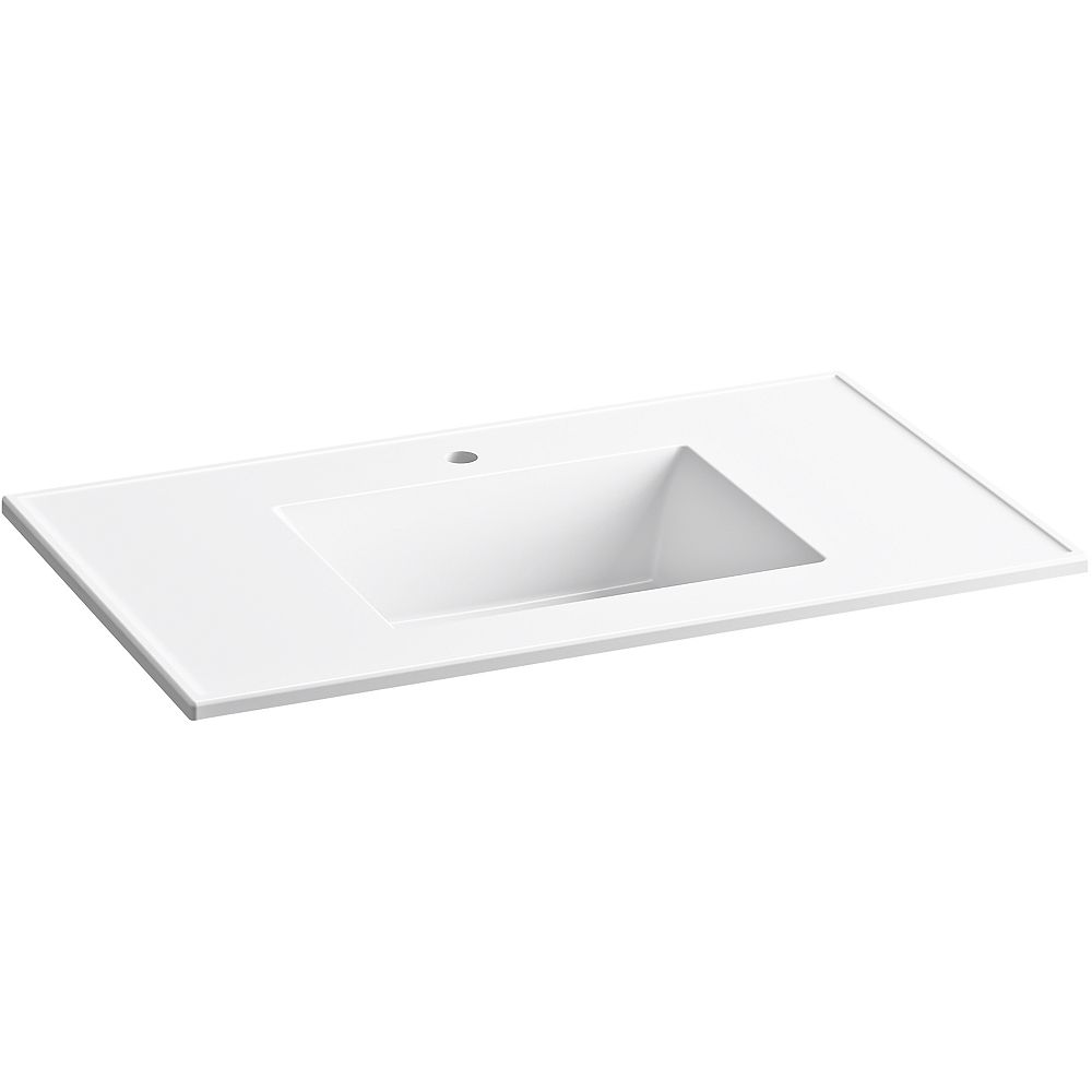 KOHLER Ceramic/Impressions 37 inch Rectangular Vanity-Top Bathroom Sink with Single Faucet Hole in White