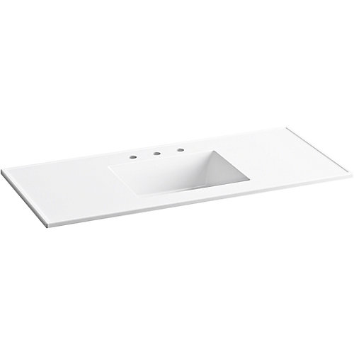 Ceramic/Impressions 49 inch Rectangular Vanity-Top Bathroom Sink in White