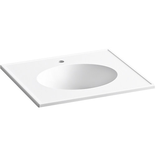 Ceramic/Impressions 25 inch Oval Vanity-Top Bathroom Sink with Single Faucet Hole in White
