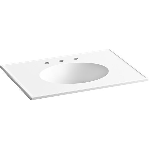 Ceramic/Impressions 31 inch Oval Vanity-Top Bathroom Sink with 8 inch Widespread Faucet Holes in White