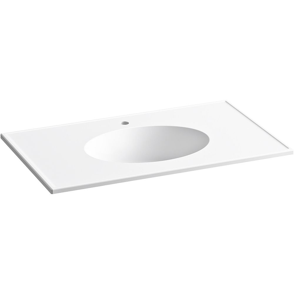 KOHLER Ceramic/Impressions 37 inch Oval Vanity-Top Bathroom Sink with Single Faucet Hole in White