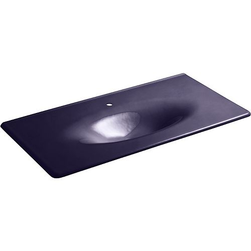 Iron/Impressions 43-inch Vanity-Top Bathroom Sink with Single Faucet Hole in Indigo Blue