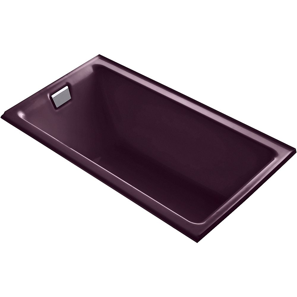 KOHLER Tea-For-Two 66-inch X 36-inch Alcove Bath with Integral Flange and Left-Hand Drain in Black Plum