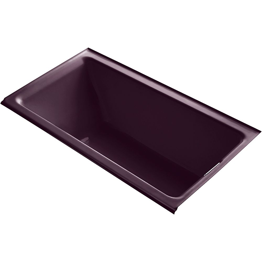 KOHLER Tea-For-Two 66-inch X 36-inch Alcove Bath with Integral Flange and Right-Hand Drain in Black Plum