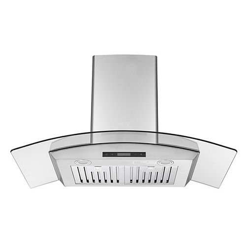 Ancona Glass Canopy GCB636 36 in. 620 CFM Convertible Wall Mount Range Hood in Stainless Steel