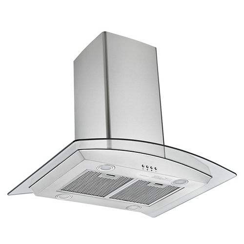 Glass Canopy 30-inch 620 CFM Convertible Island Glass Range Hood in Stainless Steel