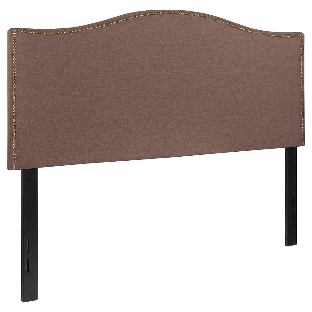 Flash Furniture Tête de lit Lexington double rembourrée avec garniture pour clous décoratifs en tissu chameau