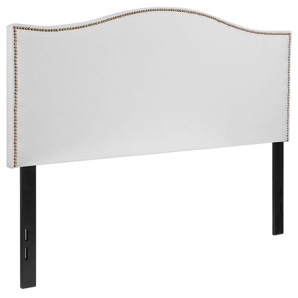 Flash Furniture Tête de lit Lexington double rembourrée avec garniture pour clous décoratifs en tissu blanc
