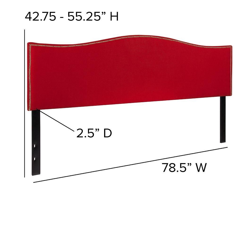 Flash Furniture Tête de lit Lexington très grand rembourrée avec garniture pour clous décoratifs en tissu rouge