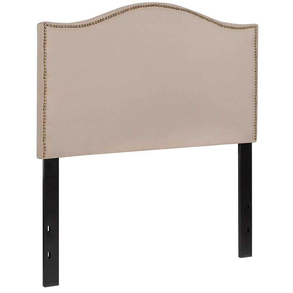 Flash Furniture Tête de lit Lexington à une place rembourrée avec garniture pour clous décoratifs en tissu beige
