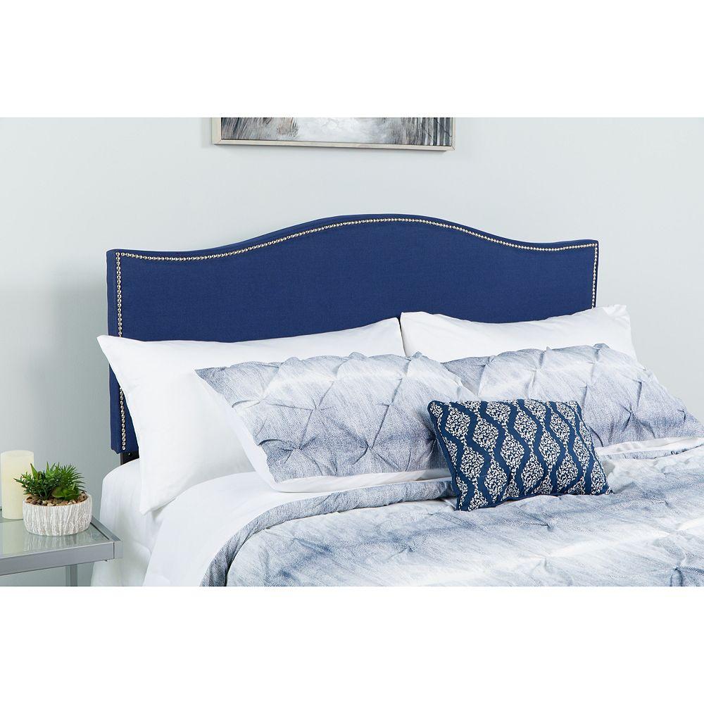 Flash Furniture Tête de lit Lexington à une place rembourrée avec garniture pour clous décoratifs en tissu marine